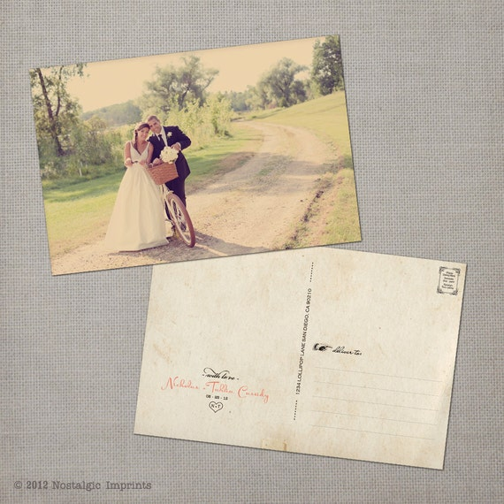"""Wedding Thank You Cards / Thank You Note Cards / Vintage cards / Thank you card / Vintage Wedding Postcard Thank You Cards - the """"Tahlia"""""""