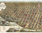 Digital Print, Minneapolis, UFO, Minneapolis Art, Minneapolis Map, geekery, flying saucer, alternate histories, Minneapolis Print