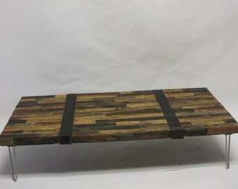 OOAK Distressed Patchwork Coffee Table Wall Art FREE SHIPPING