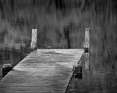 Autumn Reflections and Boat Dock on a Pond near Yankee Springs MichiganA Black and White Fine Art Wall Decor Photograph - RandyNyhofPhotos