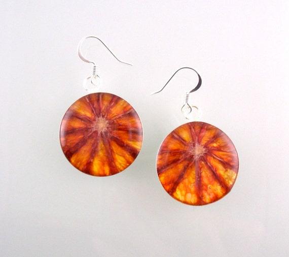 Blood Orange Earrings- Real Fruit Jewelry