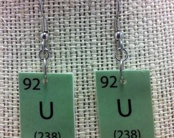 Uranium Periodic Table Nerdy Dangle Earrings