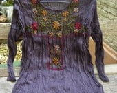 Long Sleeves Bohemian Embroidered Top - Dark Purple