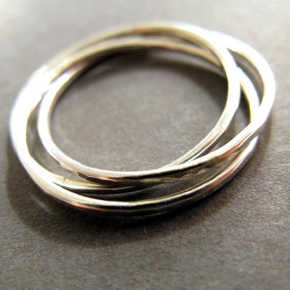 interlocking ring three thin sterling silver band by
