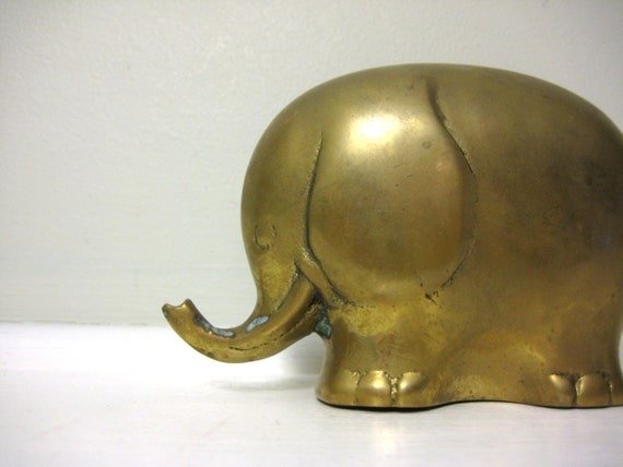 Vintage Brass Elephant Figurine, Mid Century Statue, Gold Tone Bookend, Shelf Sitter, Zoo Animal, Jungle Decor