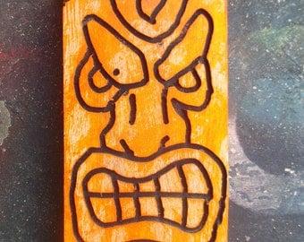 Fluorescent orange tiki wood art from set no.1  (Made to Order)