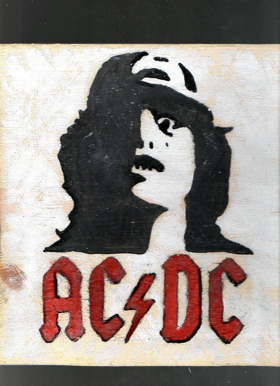 Ac Dc Wooden Wall Art Rock N Roll Logo Music Home D 233 Cor