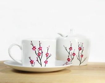 Ceramic Coffee Cup with Saucer White Cherry Tree  Tea Cup Hand Painted Kitchen Decor
