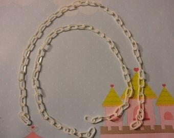 Kawaii kitsch retro style plastic chain White  40 cm   2 pcs---USA seller