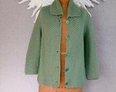 50's Crochet Sweater/ Mint Green Jacket, Handmade One of a Kind, 1950s Buttons