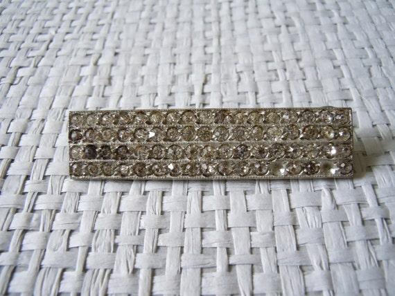 30's Paste Pin, Deco Rhinestone Pot metal Brooch, Art Deco Hollywood Jewelry
