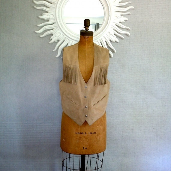 70s Suede Vest/ Rawhide, Fringe, Hippie leather vest, M Southwestern