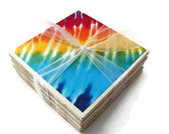 Tie Dye Handmade Tile Coasters Set of 4, Holiday Gift Fun Funky Hippie Red Green Blue Yellow Red Purple