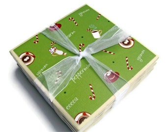 Peppermint Cocoa Handmade Tile Coasters Set of 4 Holiday Coasters Green Candy Canes Drink Coasters Beverage Coasters