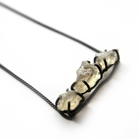Triple . oregon sunstone oxidized sterling silver necklace