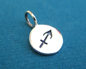 Sterling Silver Stamped Sagittarius Zodiac Sign Disc Tag Charm