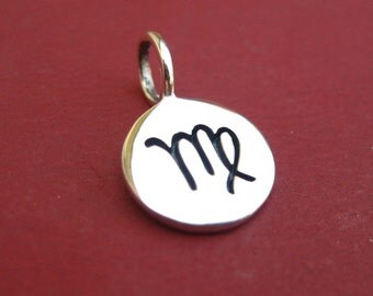 Sterling Silver Stamped Virgo Zodiac Sign Disc Tag Charm