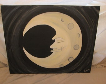 Man in the moon painting in acrylic on canvas
