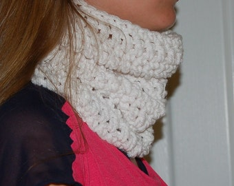 white Chunky Cowl extra chunky scarf