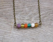 Multi Colored Circus Bar Necklace Petite Frosted Beads Vintage Brass
