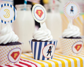 DIY Printable Cupcake Wrappers - Superhero Party