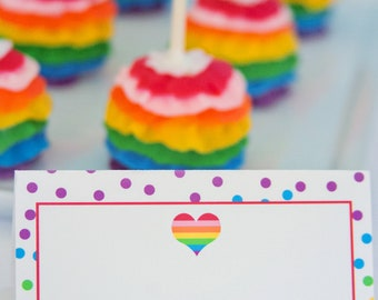 Rainbow Party Food Labels/ Tents