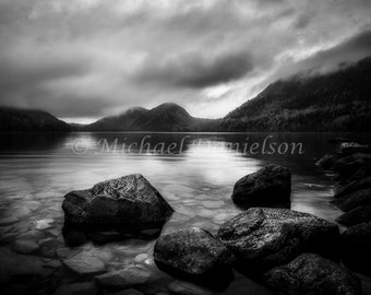 Jordan Pond Bubble Mountain Reflection Black and White Maine 8x10