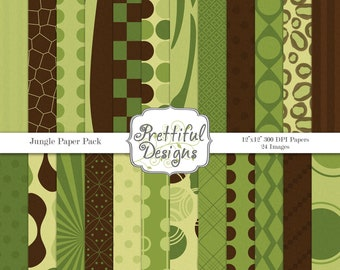 Digital Paper Pack  - Personal and Commercial Use - Jungle