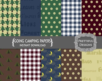 Camping Digital Paper Pack, Digital Scrapbook Paper, Commercial Use