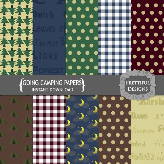 50% Off Sale Digital Camping Paper Pack  - Personal and Commercial Use - Going Camping (687)