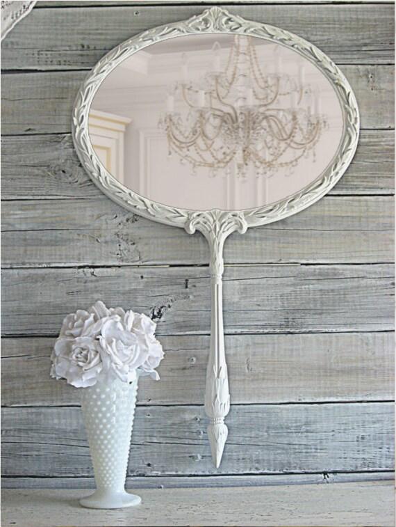 Huge Whimsical Hand Held Mirror, White Wall Mirror, Vintage Mirror, Nursery Mirror