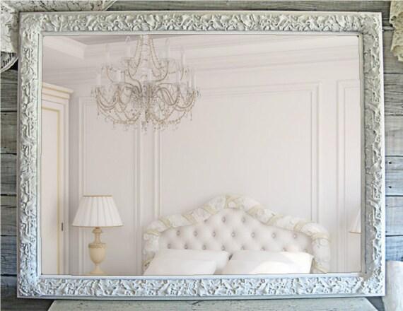 Cottage Chic, Ornate  Framed Mirro, XLarge Shabby Chic White Mirror