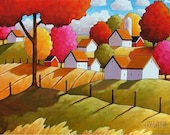 ORIGINAL PAINTING Folk Art Fall Farm Fields Modern Cottages Landscape Colorful Abstract Autumn Trees Artwork by Cathy Horvath Buchanan 16x20