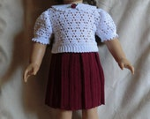 166 Burgundy Skirt Set Crochet Pattern  for American Girl Dolls