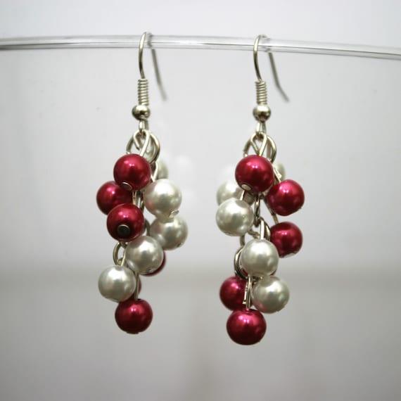 Alabama crimson tide or Oklahoma sooners red and white pearl dangle earrings