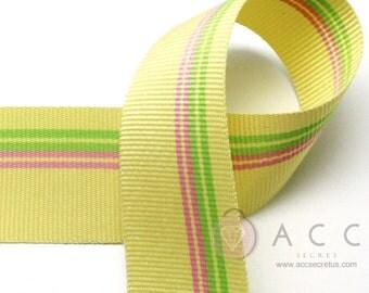 25mm(1'') Yellow Pink/Light Green Patch Stripe Grosgrain Ribbon 2Yards