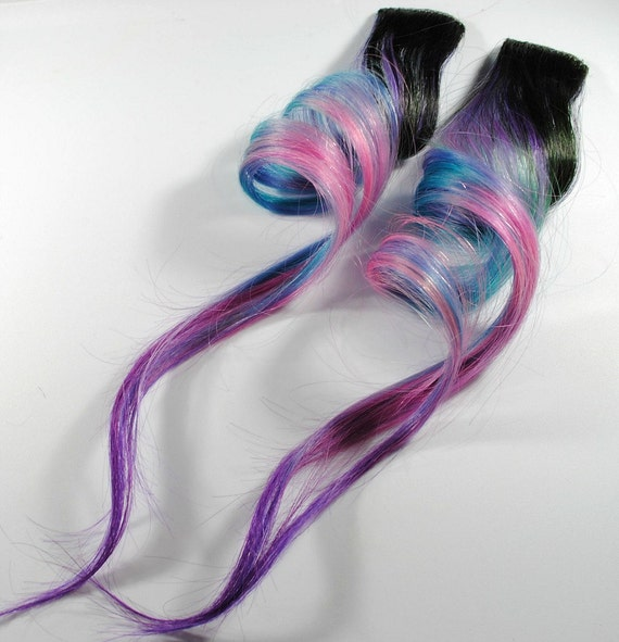 Island Dream / Human Hair Extension / Turquoise Pink Purple / Long Tie Dye Colored Hair
