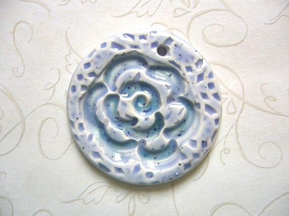 Blue Spice Flower Ceramic Round Pendant