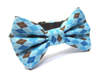Dog Bowtie, Bow tie Dog Collar, Dog Collar Bow, Bow Tie Attachment, Bowtie Dog Collar...Blue Argyle