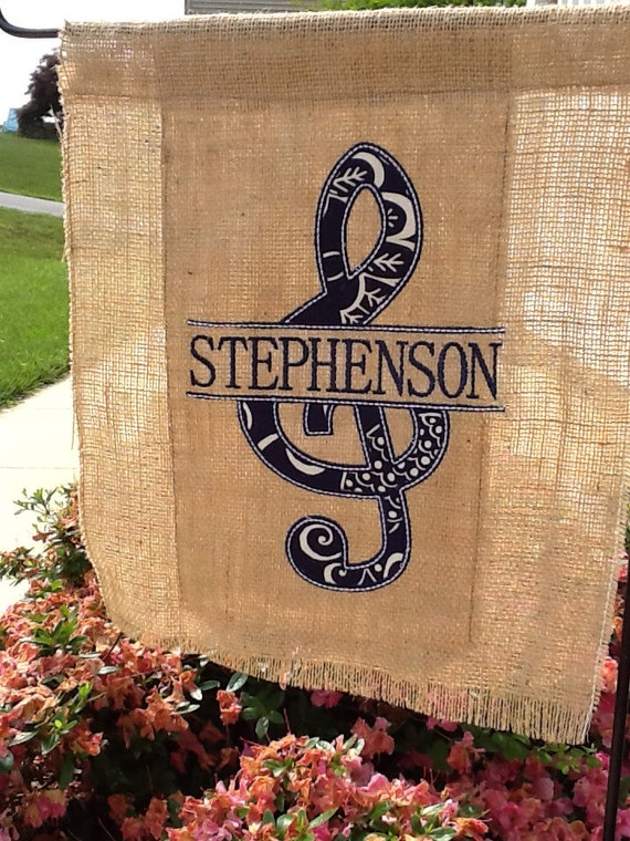 Personalized Music Garden Flag Treble Clef