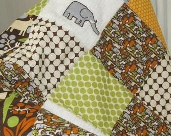Baby Blanket  Gender Neutral Patchwork Baby Blanket / Quilt - Michael Miller 2D Zoo, Amy Butler