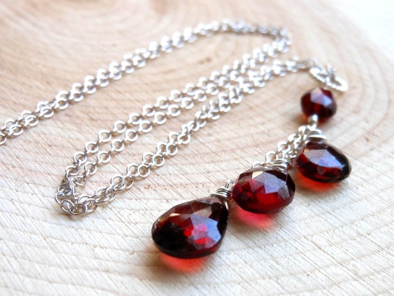 Garnet Necklace Sterling Silver Crimson Cascade Deep Red Teardrops January Birthstone Black Friday Etsy Cyber Monday Etsy