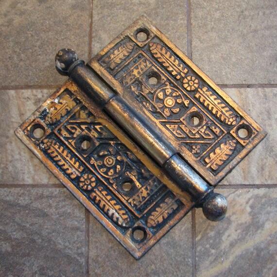 Vintage Door Hinge Arts & Crafts Ornate Salvaged Door Hardware No.2