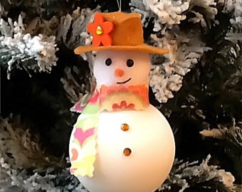 SNOWMAN SNOW LADY Christmas Tree Ornament