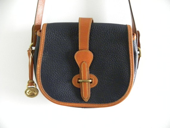 Vintage Dooney and Bourke Blue Leather Tack Bag - AWL - Navy and Tan