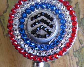 Staff Sergeant Insignia vintage military button Red White and Blue ID badge reel