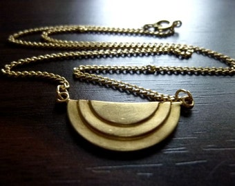 MONTEGO-Vintage Raw Brass  Geometric Art Deco with Dainty Vintage Brass Curb Chain Necklace