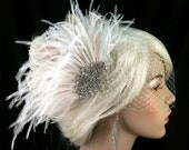 Hollywood Glitz - Rhinestone Bridal Feather Fascinator, Ivory Feather Fascinator, Bridal Headpiece, Wedding Hair Accessory, Wedding Veil
