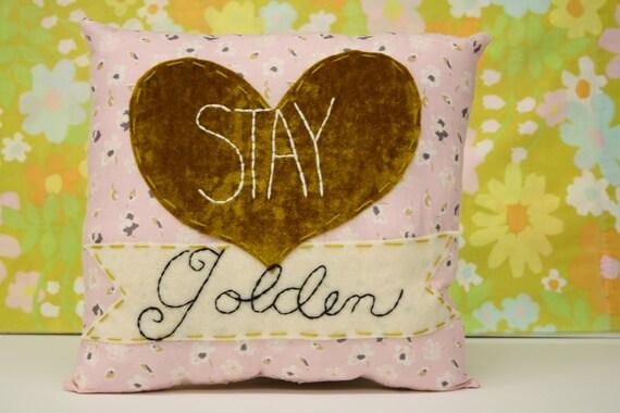 Stay Golden - Gold heart pillow