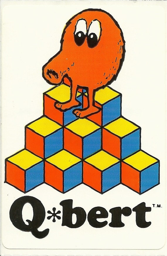 Vintage 80's Q-bert Arcade Game Sticker Version by Stuckonstickers